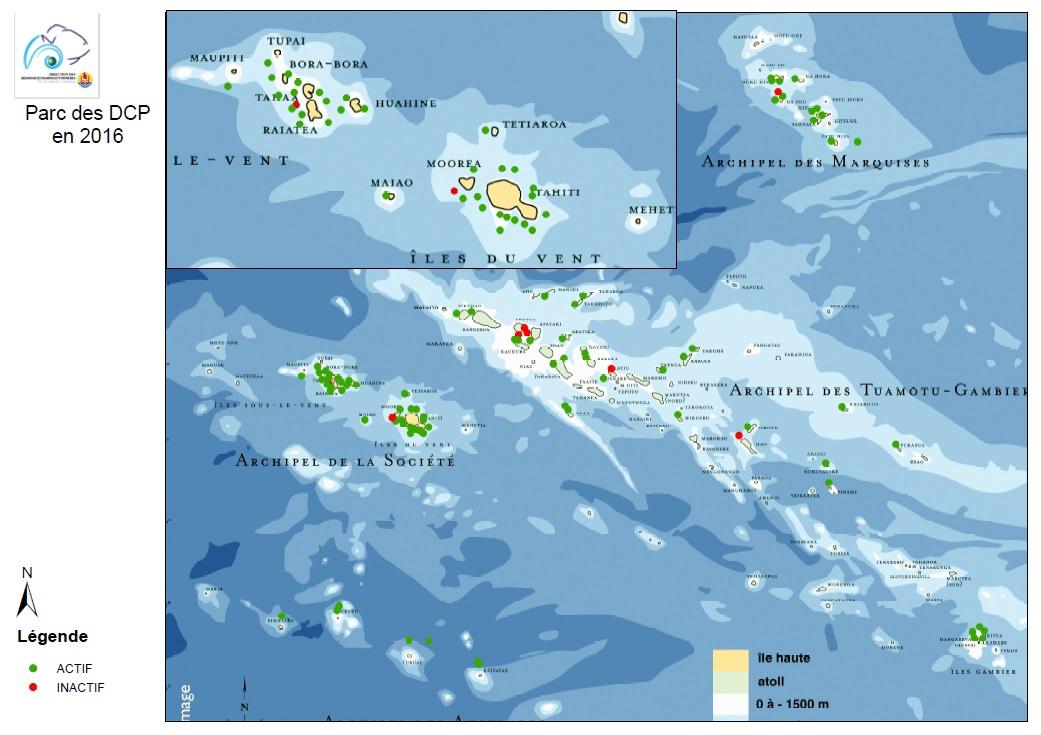 Carte du parc des Dispositifs de concentration de poissons (DCP) en 2016