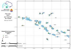 Carte du parc des DCP aux Tuamotu de l'Ouest mise à jour mai 2019