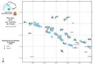 carte du parc DCP aux tuamotu de l'ouest de Polynésie française au 7-05-2019
