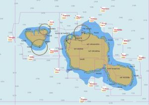 Cartes du parc des DCPs en Polynésie française, août 2020